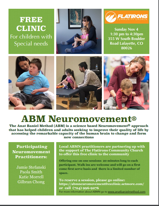 ABM Neuromovement Free Clinic Anat Baniel Method® (ABM) NeuroMovement® is a holistic approach to human functioning and action, based in the understanding that movement is the language of the brain. Movement provides information the brain needs to grow and organize itself. And, in return, the brain organizes all movement, thought, feelings, and action.