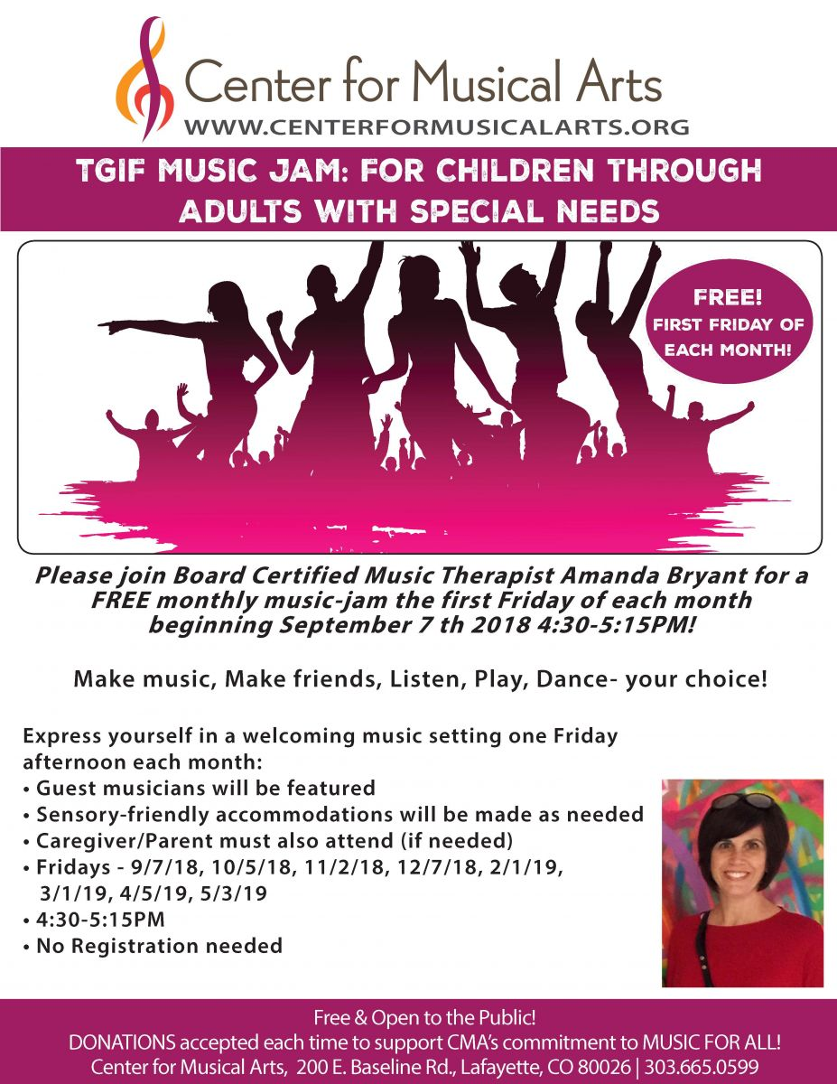 Please join Board Certified Music Therapist Amanda Bryant for a FREE monthly music-jam the first Friday of each month 4:30-5:15PM!  Make music, Make friends, Listen, Play, Dance- your choice!   Express yourself in a welcoming music setting one Friday afternoon each month:  • Guest musicians will be featured  • Sensory-friendly accommodations will be made as needed • Caregiver/Parent must also attend (if needed) • Fridays - 9/7/18, 10/5/18, 11/2/18, 12/7/18, 2/1/19, 3/1/19, 4/5/19, 5/3/19  • 4:30-5:15PM • No Registration needed